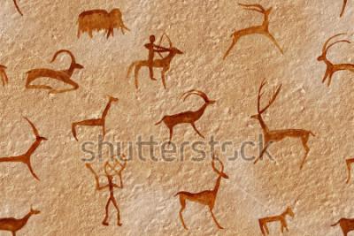 Quadro Disegno senza soluzione di continuità in una grotta dipinta da un uomo antico su un muro, una roccia. Dipinge l'ocra rossa arancione. A caccia di un animale. Sciamano, aborigeno, neanderthal, capr