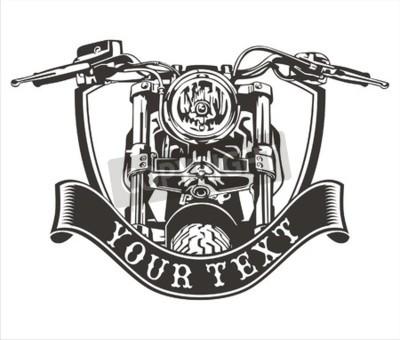 Quadro disegno vettoriale moto d'epoca con un nastro sotto