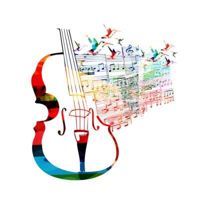 Quadro Disegno violoncello variopinto con colibrì