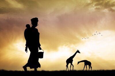 Quadro donna africana e figlio al tramonto