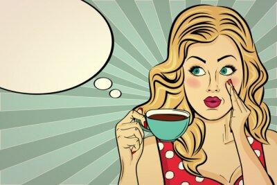 Quadro Donna bionda sexy pop art con tazza di caffè