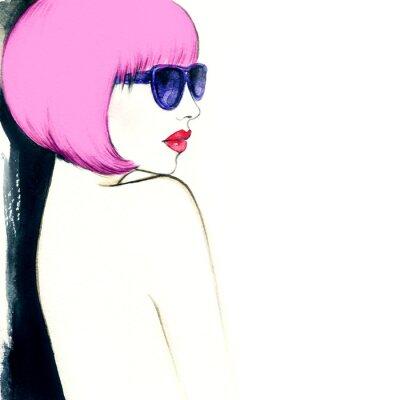 Quadro donna con gli occhiali. acquarello illustrazione