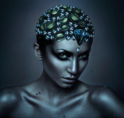 Quadro donna con la testa gemma