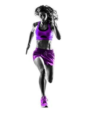 Quadro donna corridore jogger in esecuzione il jogging silhouette