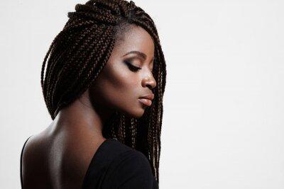 Quadro donna di colore con le trecce e gli occhi smokey sera
