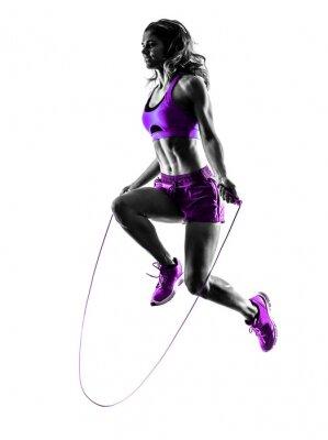 Quadro Donna di salto esercizi di fitness Rope silhouette