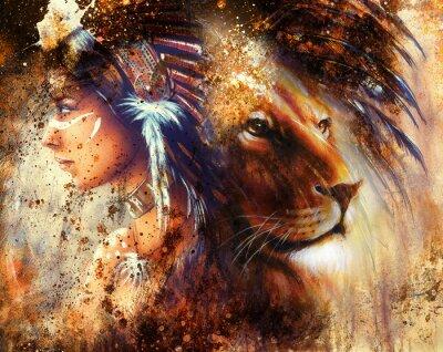 Quadro donna indiana con copricapo di piume con il leone e astratto collage colore