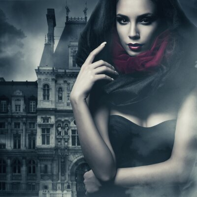 Quadro Donna sexy in cappuccio nero e il castello