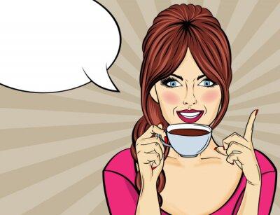 Quadro Donna sexy pop art con tazza di caffè
