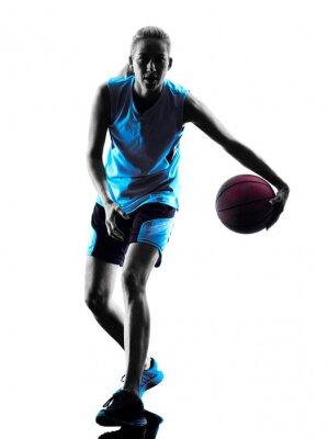 Quadro donna silhouette giocatore di basket