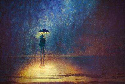 Quadro donna sola sotto le luci ombrello al buio, pittura digitale