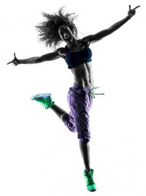 Quadro donna zumba ballare ballerino esercita silhouette