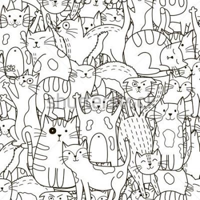 Quadro Doodle seamless pattern di gatti. Sfondo carino bianco e nero. Ideali di libri da colorare, confezioni, stampe, tessuti e tessuti. Illustrazione vettoriale