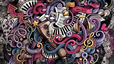 Quadro Doodles Music illustration. Creative musical background