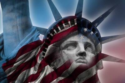 Quadro Doppia esposizione immagine della Statua della Libertà e la bandiera americana