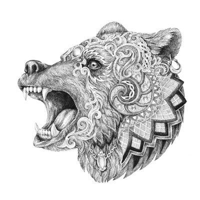 Quadro Dotwork, tatuaggio, testa di orso infuriato