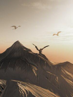 Quadro Drago Peak at Sunset, fantasia illustrazione