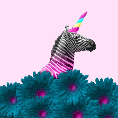 Quadro Dreaming about being better. An alternative zebra like a unicorn in blue flowers on pink background. Negative space. Modern design. Contemporary art. Creative conceptual and colorful collage.