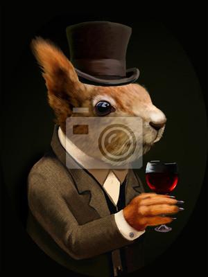 Quadro Dressed scoiattolo con bicchiere di vino e Cappello a cilindro