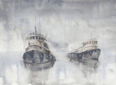 Quadro Due barche in mare. Tempo nebbioso. Pioggia. Mare. navi Fishind.