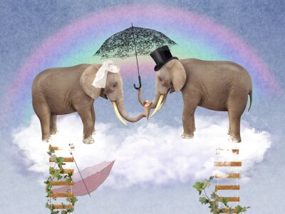 Quadro Due elefanti in amore con ombrelloni.