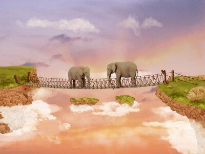 Quadro Due elefanti su un ponte nel cielo