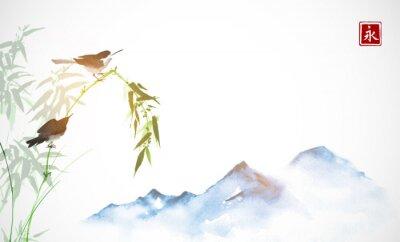 Quadro Due uccellini, ramo di bambù e montagne lontane blu. Pittura a inchiostro orientale tradizionale sumi-e, u-sin, go-hua. Geroglifico - eternità.