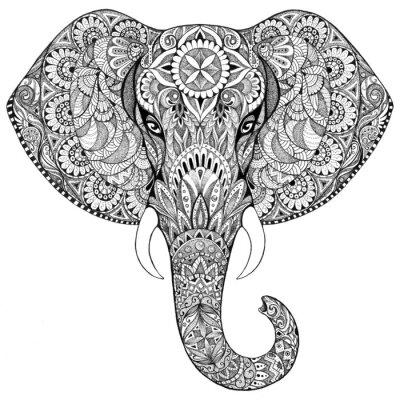 Quadro Elefante tatuaggio con disegni e ornamenti