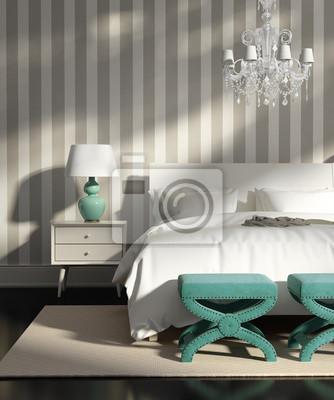 Quadro: Elegante camera da letto grigio di lusso moderno con carta da