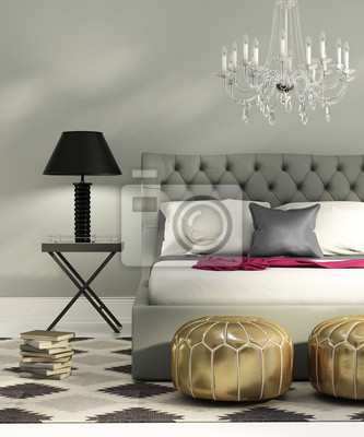 Quadro: Elegante camera da letto grigio lusso contemporaneo