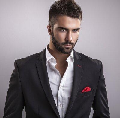 Quadro Elegante giovane uomo bello. Studio moda ritratto.