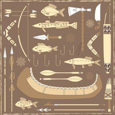 Quadro Elementi di design di pesca americani nativi