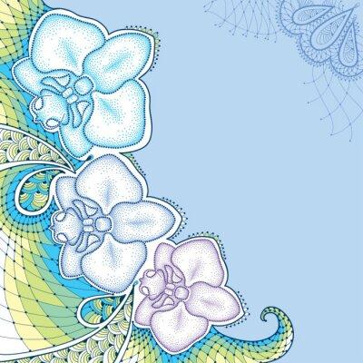 Quadro elementi floreali in stile dotwork.