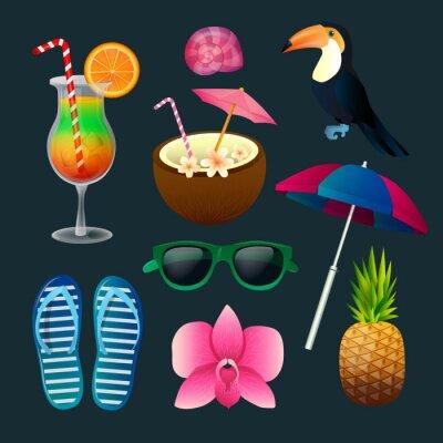 Quadro Elementi tropicali SET: cocktail, fiori, occhiali da sole, Uccello, ananas