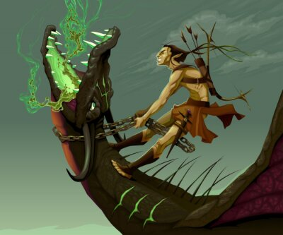 Quadro Elf sta cavalcando il drago