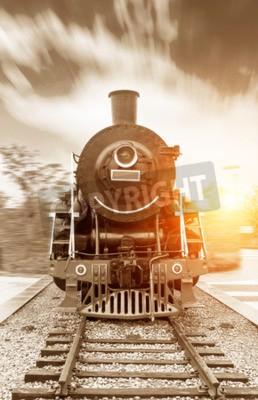 Quadro epoca a vapore alimentata treno ferroviario nero