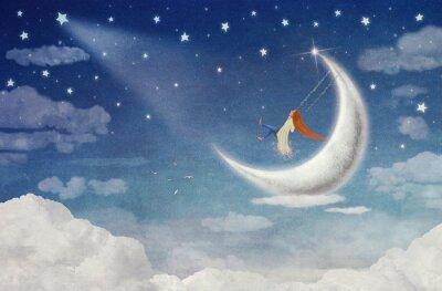 Quadro equitazione Fata su un'altalena sulla luna nel cielo