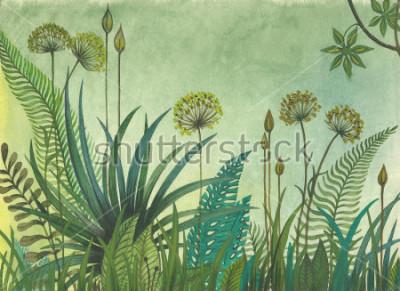 Quadro Erba verde che cresce nella giungla. illustrazione dipinta con acquerelli