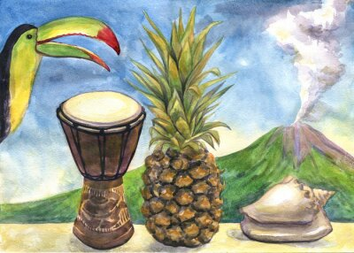 Quadro Esotico natura morta. pittura ad acquerello. Ananas, tamburo, Tucano, conchiglia di mare, vulcano