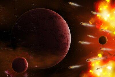 Quadro Esplosione di spazio / Esplosione di spazio con la cometa attacco pianeta. ritocco digitale.