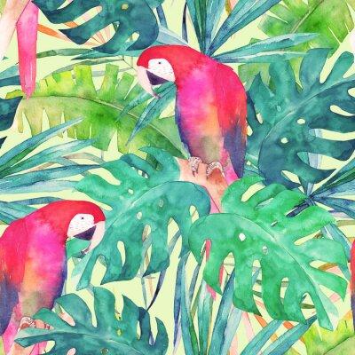 Quadro Estate modello senza soluzione di continuità con pappagallo acquerello, foglie di palma. Illustrazione colorata