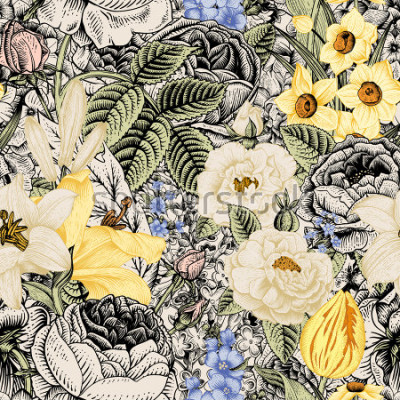 Quadro Estate senza motivo floreale. Fiori d'epoca Art. Fiori rose, gigli bianchi e gialli, narcisi, tulipani e delphinium blu e dimenticare-me su uno sfondo beige e nero.