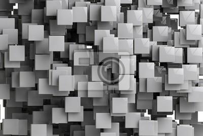 Quadro Estratto cubi geometrici sfondo 3d rende