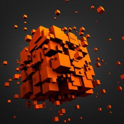 Quadro Estratto rendering 3D di Volare cubi.
