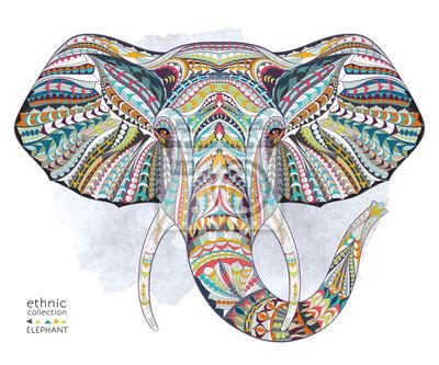 Quadro Ethnic testa fantasia di elefante sullo sfondo grange / disegno africano / indiano / totem / tatuaggio. Utilizzare per la stampa, poster, t-shirt.