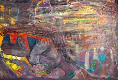 Quadro Etnografia, M.Sh. Khaziev. Artista Onorato del Tatarstan. Il quadro dipinto ad olio. uomo che dorme