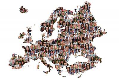 Quadro Europa Karte Menschen junge Leute Gruppe Integrazione multikultur
