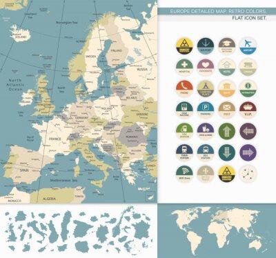 Quadro Europa map.Retro dettagliata Colori
