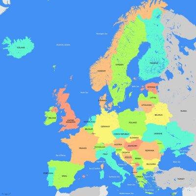 Quadro Europa mappa dettagliata