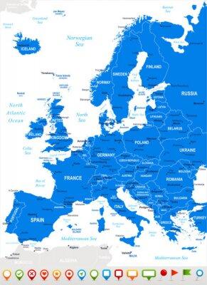 Quadro Europa - Mappa e navigazione icons.Highly vettoriali dettagliate illustration.Image contiene strati successivi: l'orografia del terreno, il paese e terrestri nomi, nomi di città, nomi di oggetti acqua